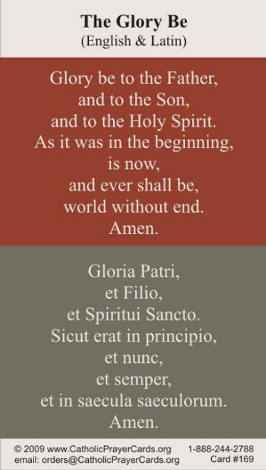 Glory Be Prayer Card in English and Latin