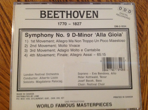 "Beethoven Symphony No. 9 ""Song of Joy"" CD"