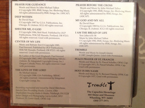 Tremble by the Franciscan Troubadours CD