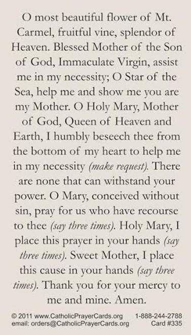 Our Lady of Mount Carmel Prayer Card