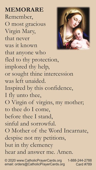 Memorare of Blessed Mother Prayer Card