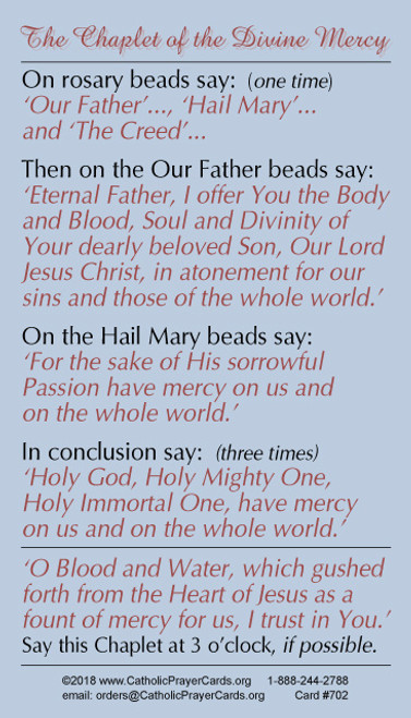 Chaplet of Divine Mercy Wallet Size Card