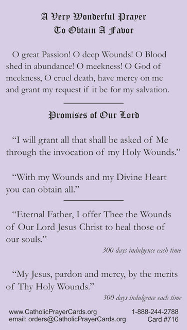 Prayer to Christ's Wounds to Obtain Favor Plus Indulgence Prayer to Wounds of Christ
