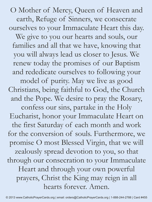 Consecration of the World to the Immaculate Heart of Mary Prayer Card