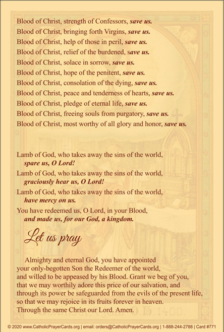 Litany of the Precious Blood Prayer Card