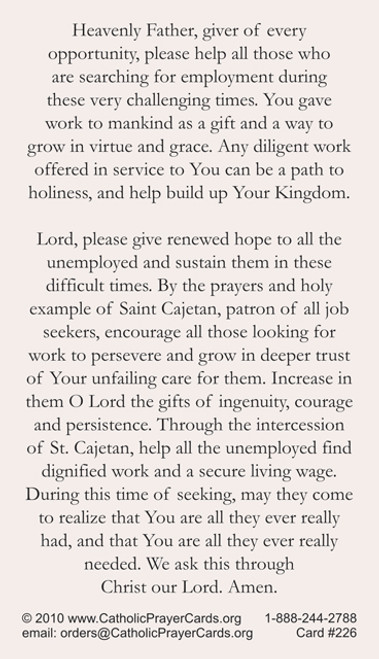 Prayer for the Unemployed--Saint Cajetan