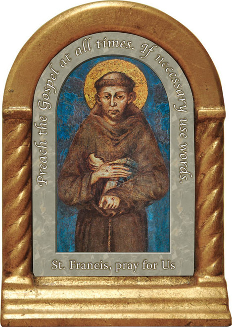 Saint Francis of Assisi Cimabue Image Desk Shrine Gold