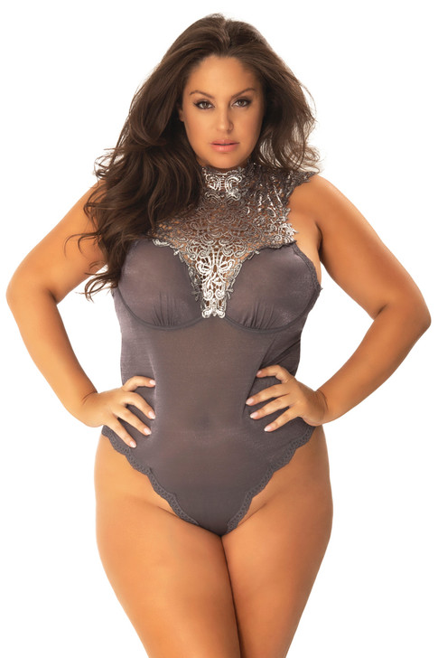 Plus Size Violette Guipure High Neck Collared Bodysuit
