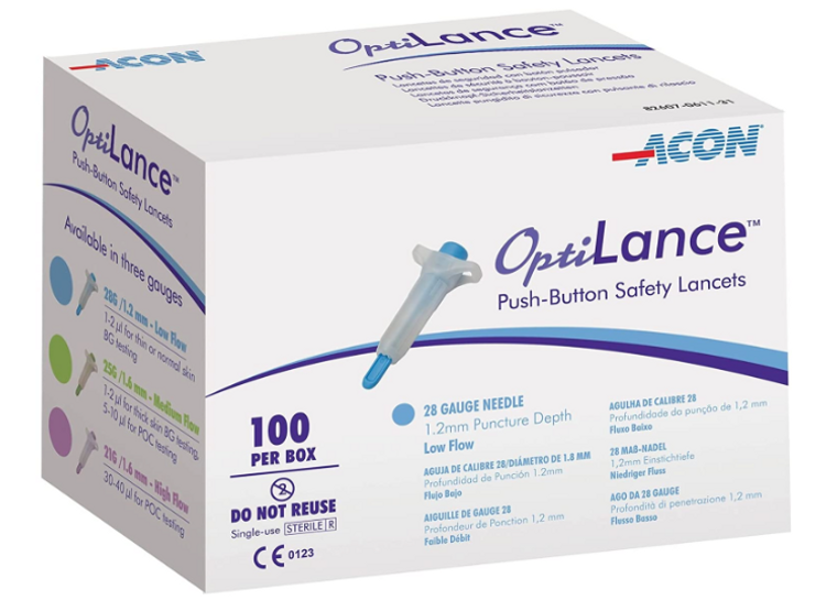 Optilance Push-Button Safety Lancets