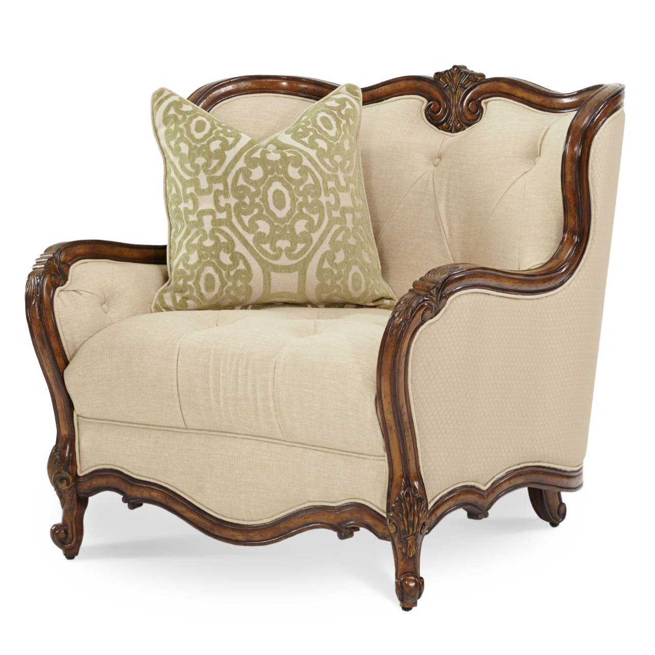 Caravelle Warm Walnut Fabric Chair And A Half Magnolia Hall