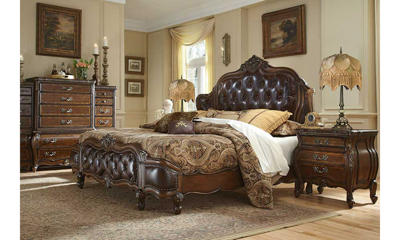 Caravelle Warm Walnut Leather Bedroom
