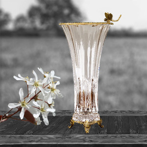 Bronze and Crystal Small Vase