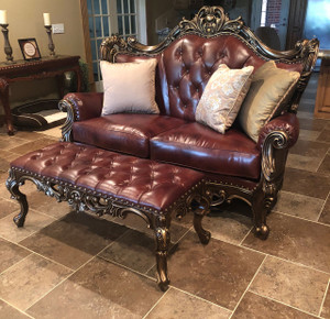 Loveseat shown with Sir Richard's Bronze and Leather Bench Ottoman