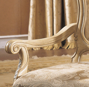 View of the Antique White Finish Arm Chair.