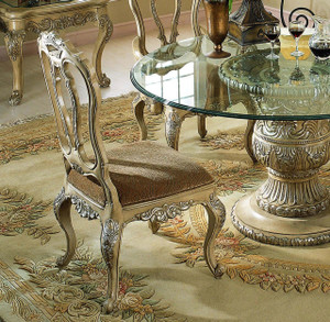 View of the Antique White Finish Side Chair.