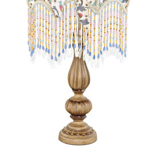 Victorian Floral Detail Beading and Base Lamp