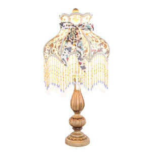 Victorian Floral Lamp with light on
