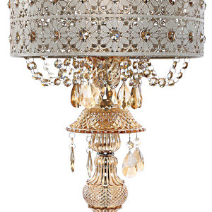 Jeweled Blossom Lamp Shade and Base Detail