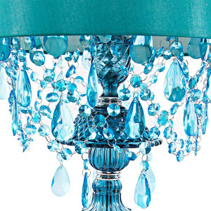 Sea Glass Blue  Lamp Shade and Base Detail
