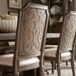 View of the  Miabella Wood Back Side Chair.