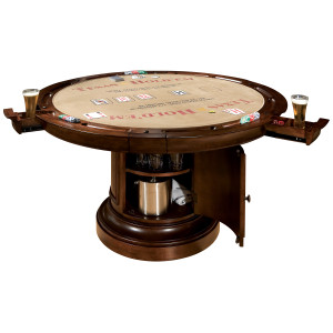 View of the Cambridge Poker Table with the Texas Hold 'Em surface