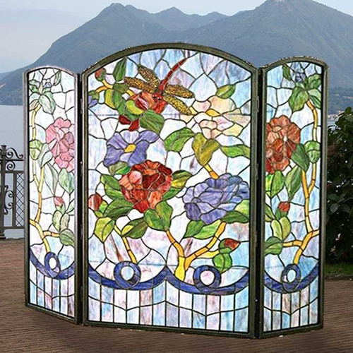 Tiffany Glass Fireplace Screen