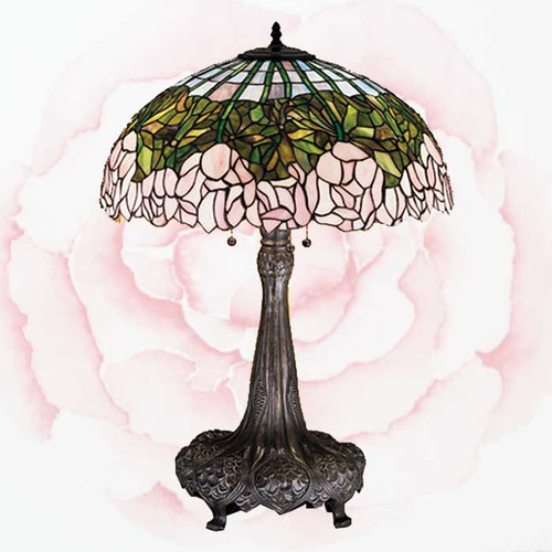 View of the Cabbage Rose Table Lamp.