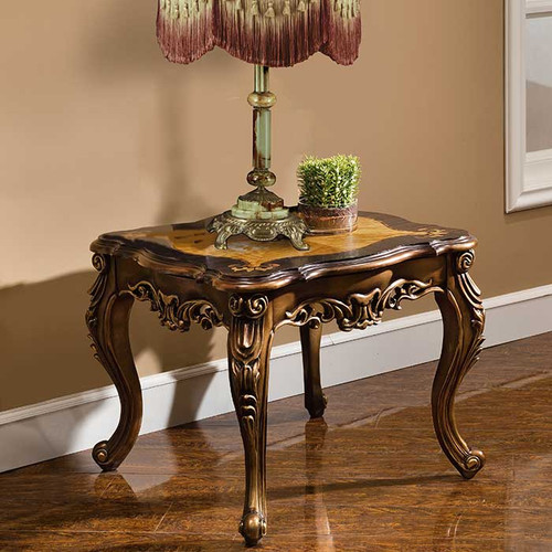Bronze and Leather End Table
