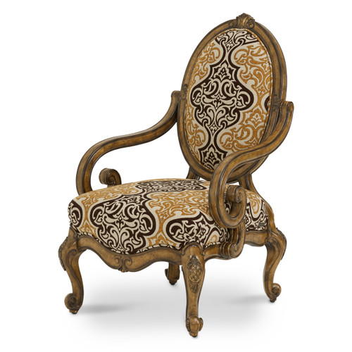 Caravelle Warm Walnut Oval Back Chair - Bronze