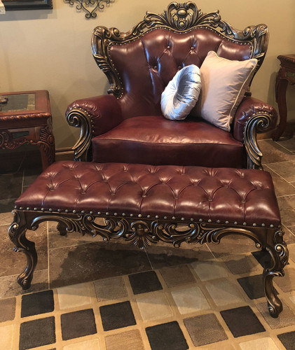 Shown with Sir Richard's Bronze and Leather Bench Ottoman in the Top Grain Leather option