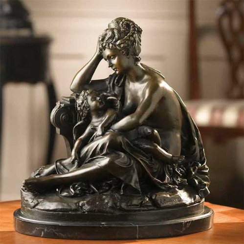 Bronze Woman Sitting With Baby