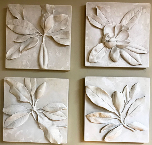 Magnolia Plaque-Set of 4