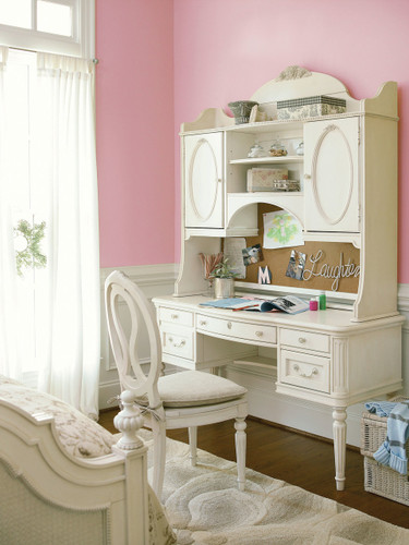 Brielle Vanity Desk with Hutch and Chair with Storage Seat