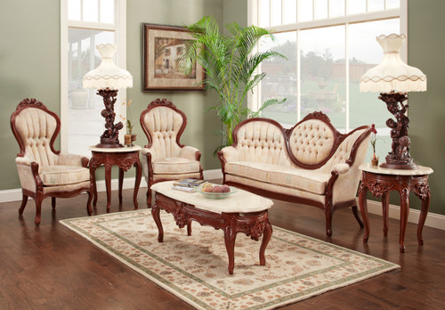 View of the Annya Set in the New York Fabric- Walnut Finish.
