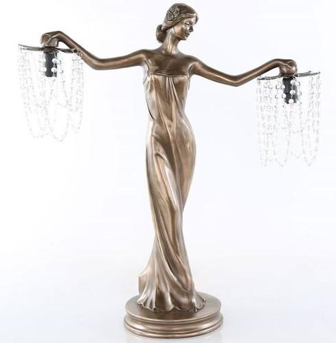 Grecian Woman 2-Arm Candelabra Lamp