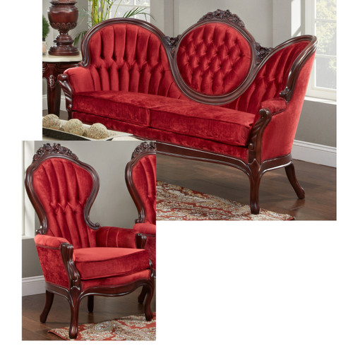 Shown in the Red Velvet with a Mahogany Finish