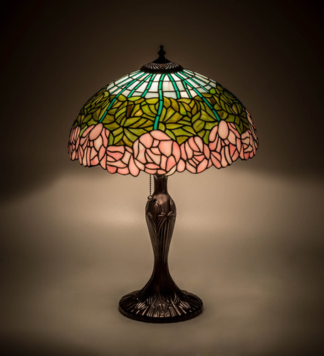 View of the Cabbage Rose Accent Lamp.