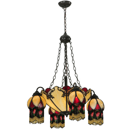 View of the 4 Arm Crimson Rose Chandelier.