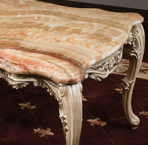 View of the Palais d'Opale Dining Table w Marble Top.