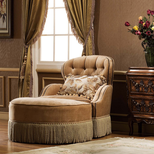 Nigel's Fringed Chair (Ottoman Extra)