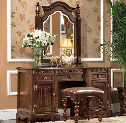 View of the St. Augustine Cacao Dresser, Mirror & Bench