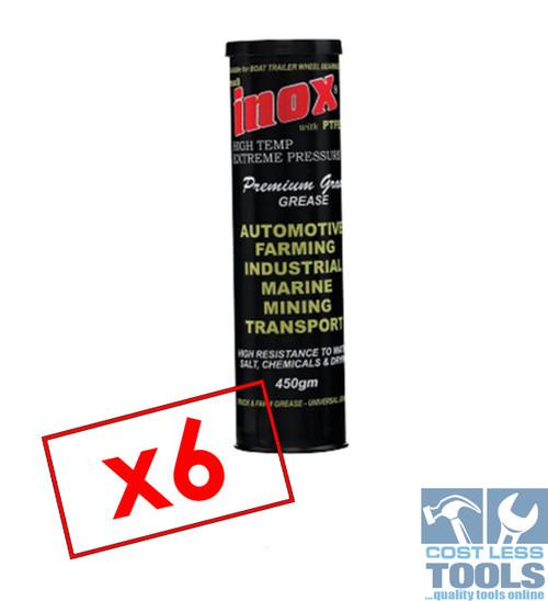 Inox MX8 Extreme Pressure Premium Grease 450gm Water Salt Resistant- x6 Pack