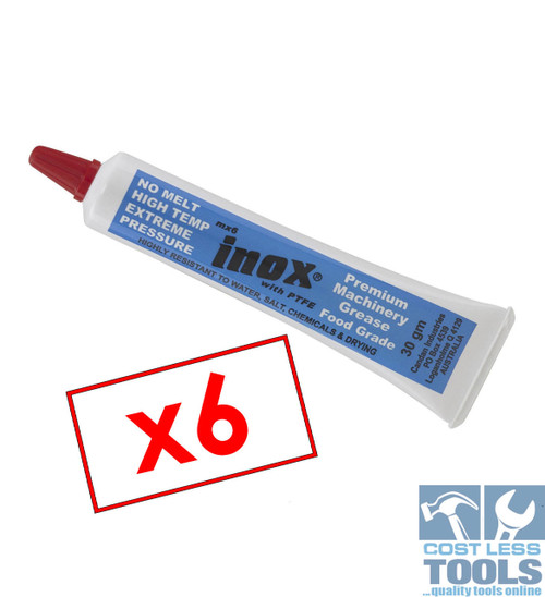 Inox MX6 High Temp Food Grade Machinery Grease with PTFE - 30gm - X6 Pack