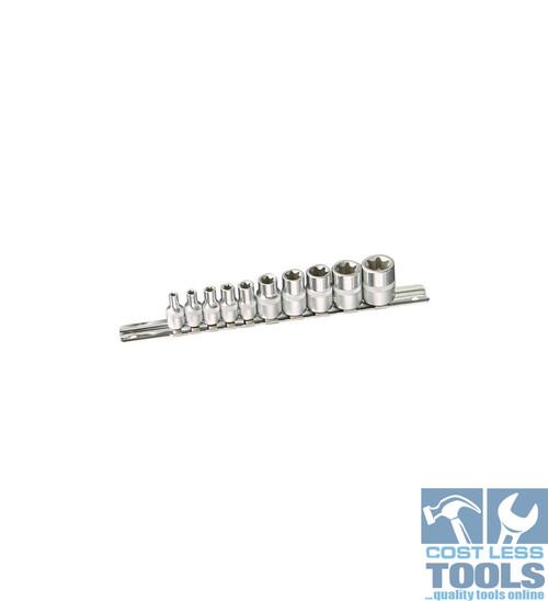 """Kincrome E-TORX® Socket Set 10 Piece 1/4 & 3/8"""" Square Drive"""
