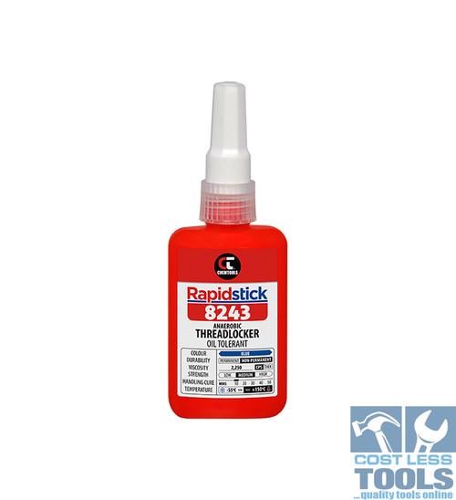 Chemtools Rapidstick ® 8243 Blue Medium Strength (Oil Tolerant) Threadlocker 50ml
