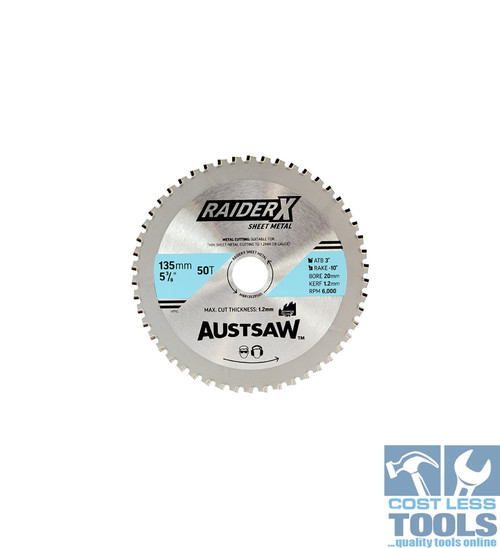 Austsaw RaiderX Sheet Metal Blade 135mm x 20 x 50T