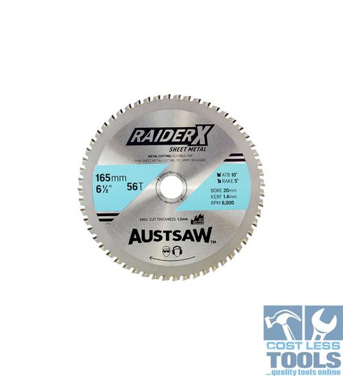 Austsaw RaiderX Sheet Metal Blade 165mm x 20 x 56T