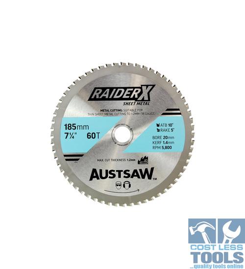 Austsaw RaiderX Sheet Metal Blade 185mm x 20 x 60T