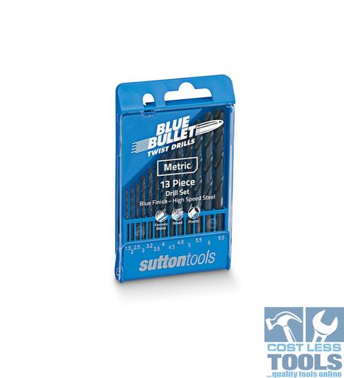 Sutton 13 Piece HSS Metric Blue Bullet Drill Set - D102SM1