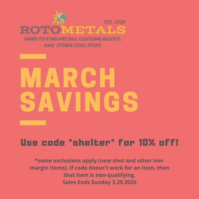 March Savings at RotoMetals